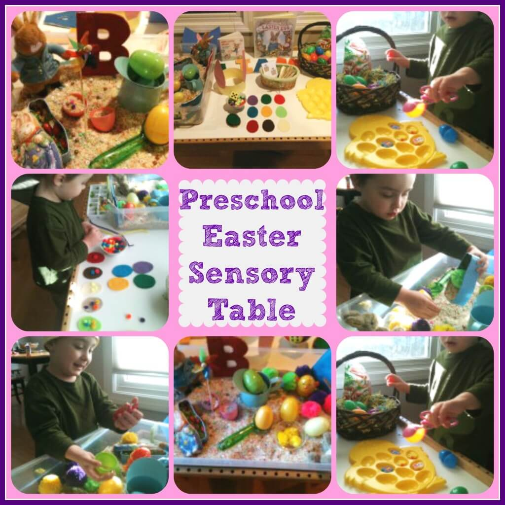 preschool easter sensory table