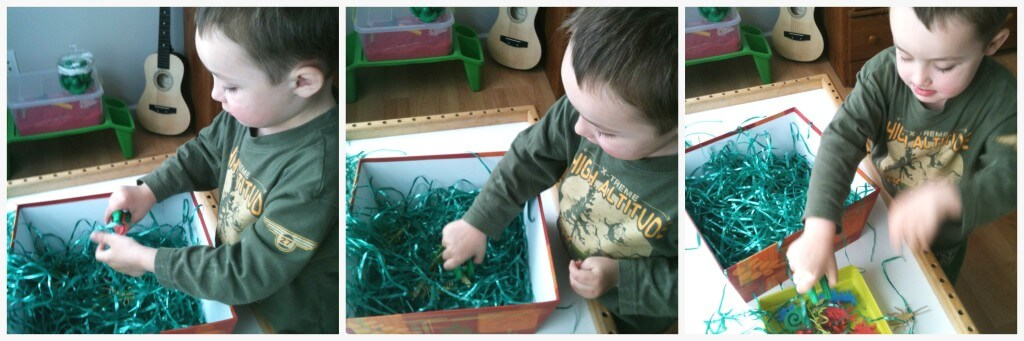 buried bugs grass sensory bin