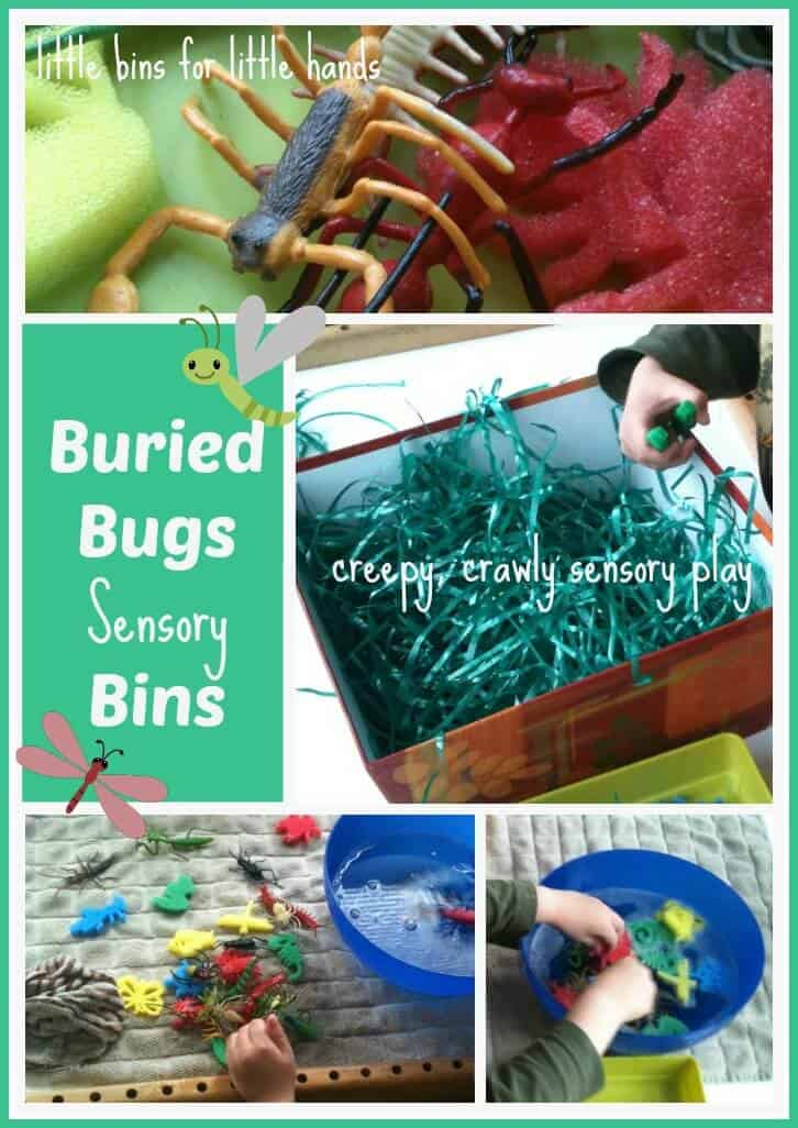 Buried Bugs Sensory Bin, Bug Bath & Number/Letter Activities