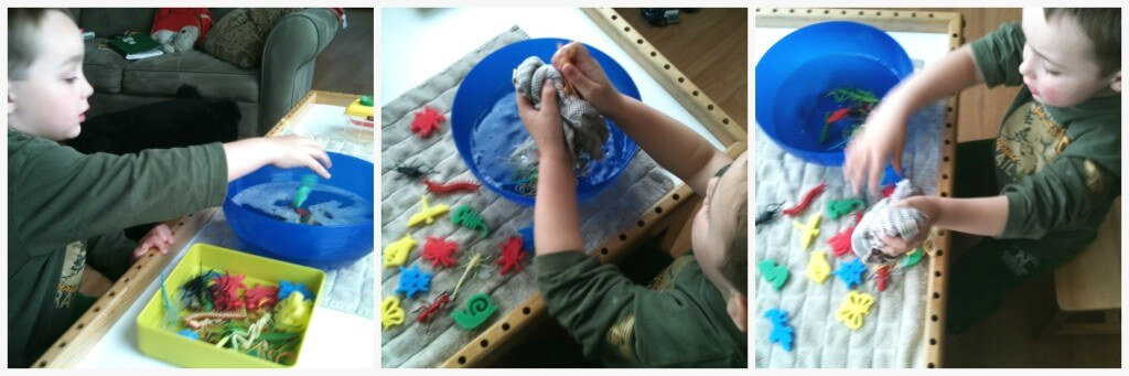 buried bugs water sensory play