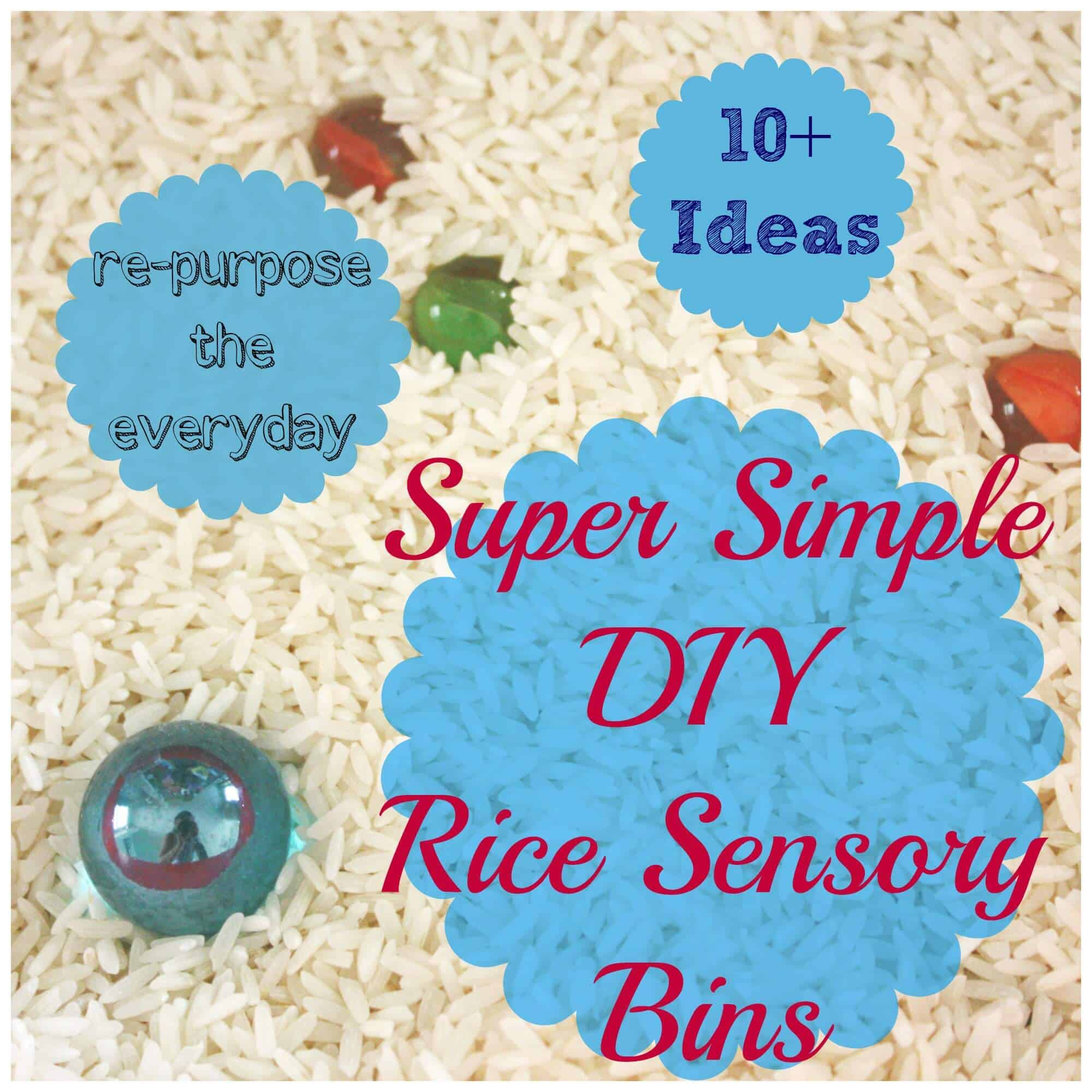10 Super Simple Rice Sensory Bins!