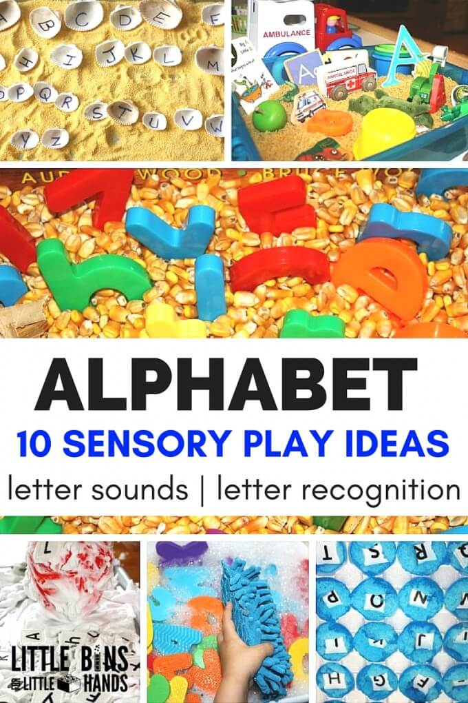 Alphabet sensory play activities and ideas for kids learning the alphabet and practicing letter sounds