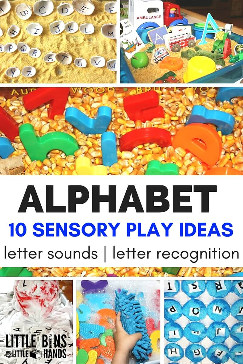 image regarding Letter Sound Games Printable titled Studying Letters With Alphabet Sensory Perform Minimal Boxes