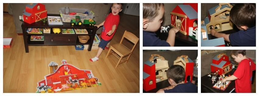 Farm sensory table play with barn