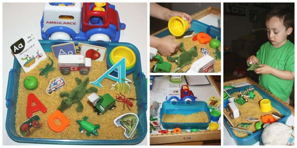 alphabet fun play letter objects sensory bin