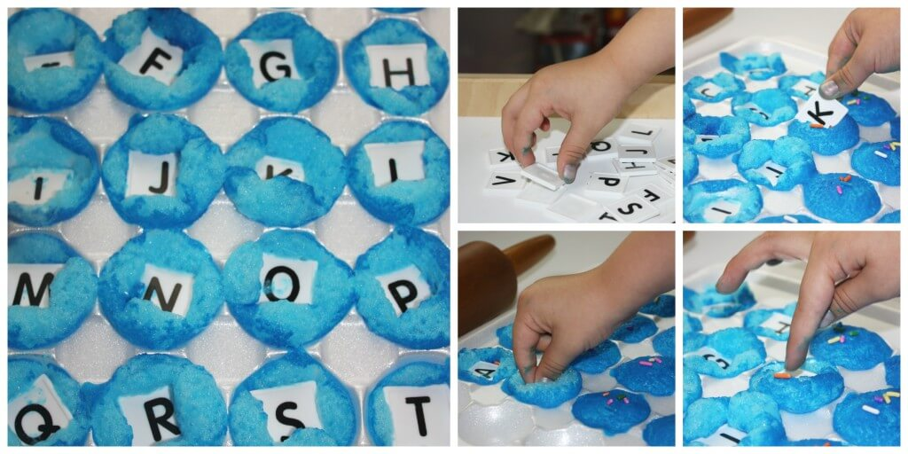 alphabet fun play shaving cream puffs