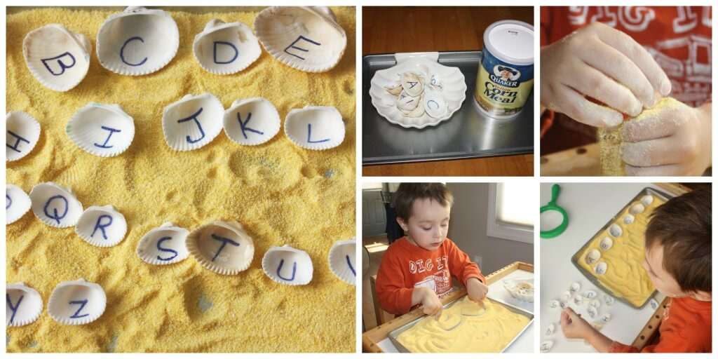 alphabet play seashells corn meal sensory