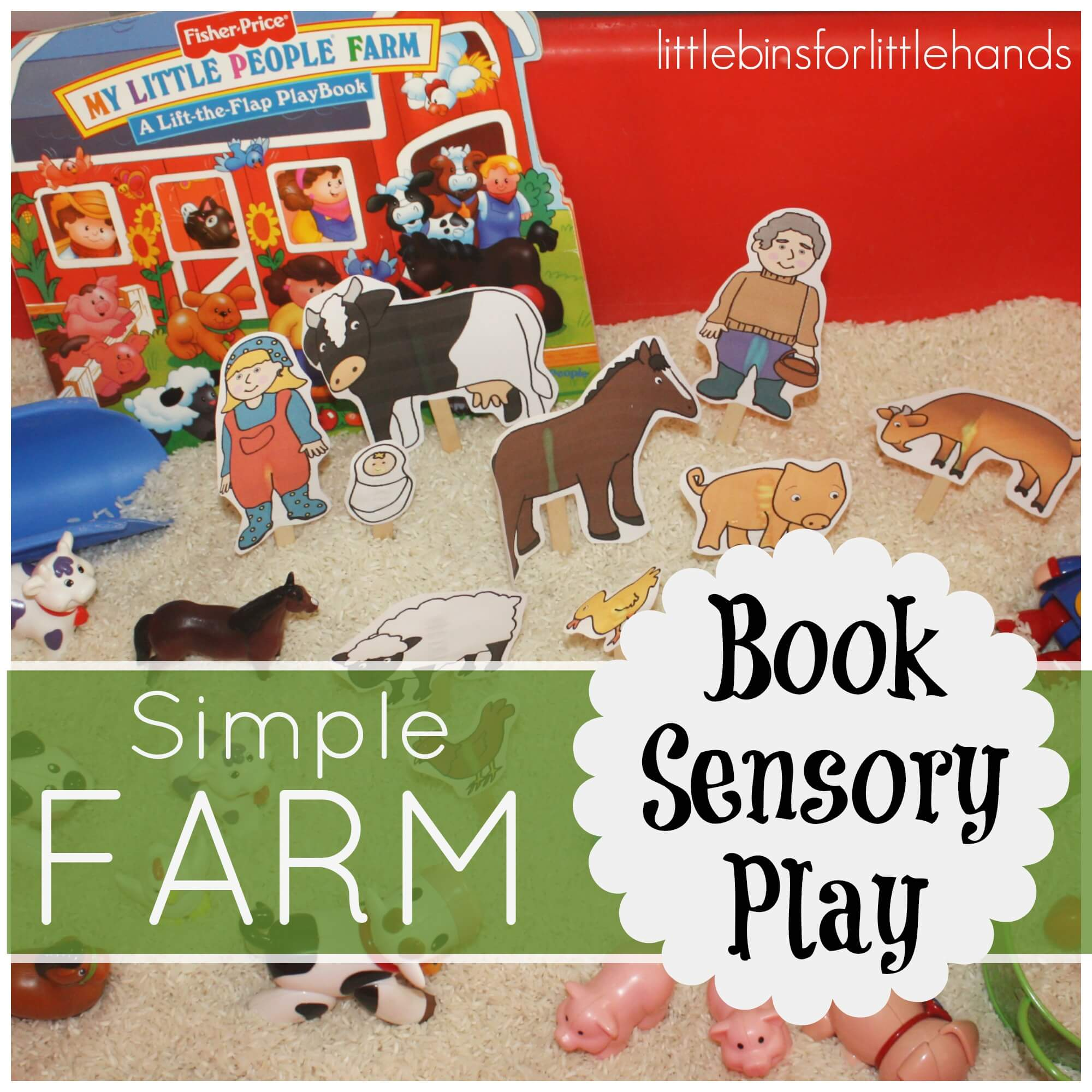 Farm Sensory Bin Book Play