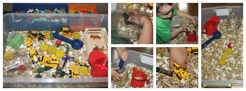 farm sensory play sensory bin