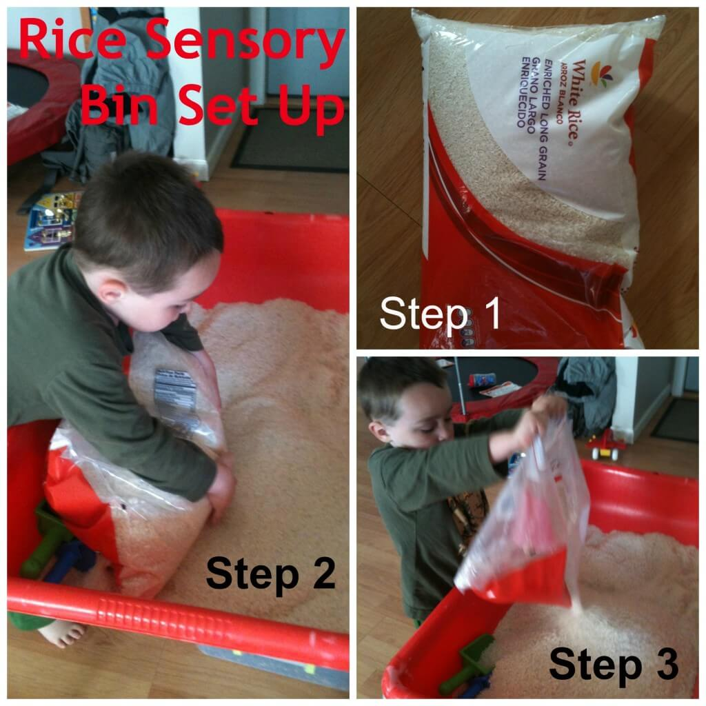 rice sensory bin set up
