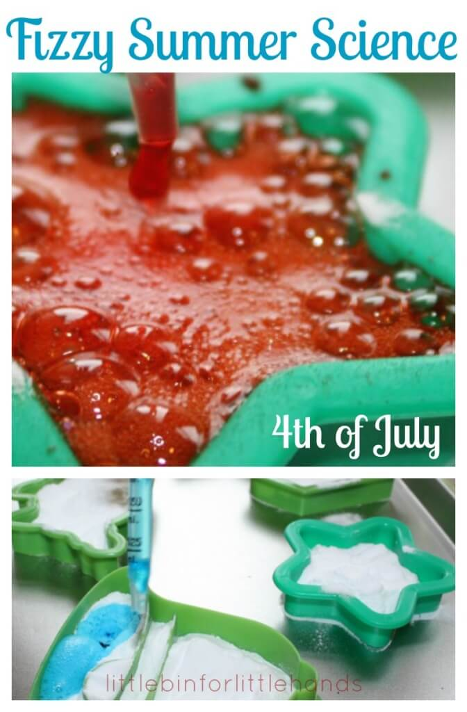 4th of July Baking Soda Science Activity with cookie cutters