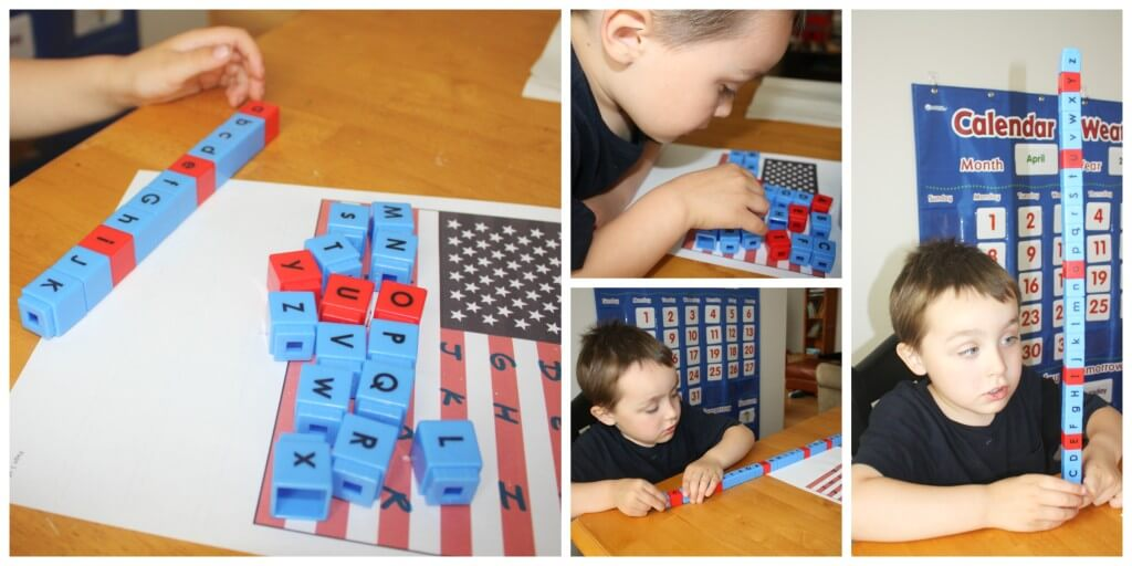 Patriotic Sensory Play Letter Recognition