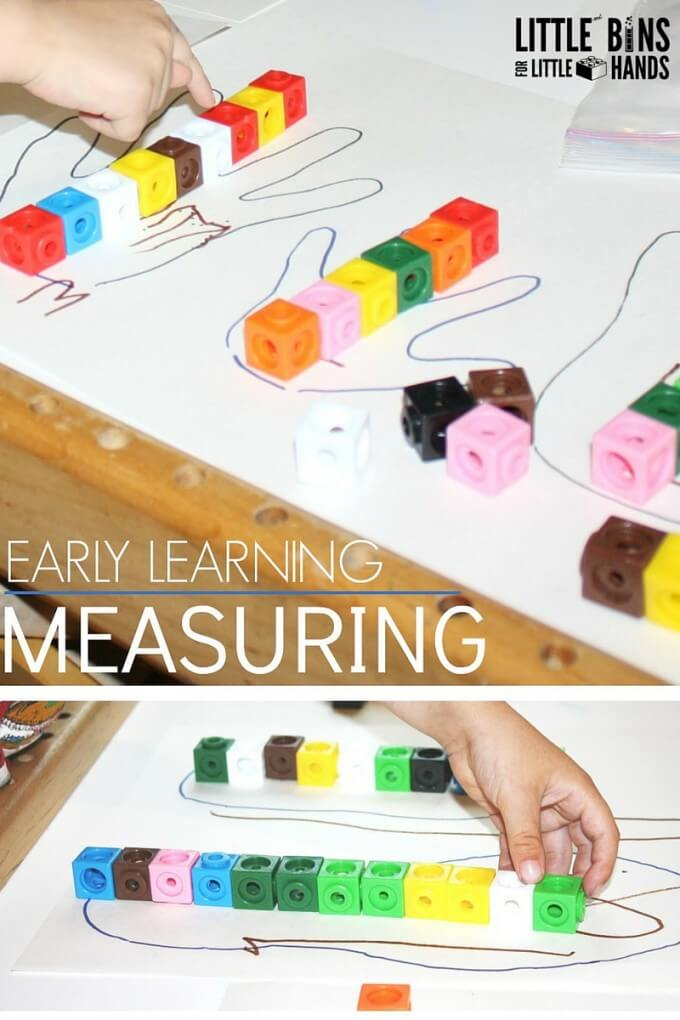 Preschool Math Measuring Activity Using Unifix Cubes, DUPLO or LEGO