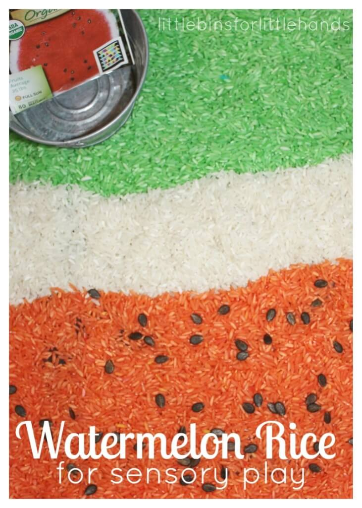 Watermelon Rice Sensory Bin Summer