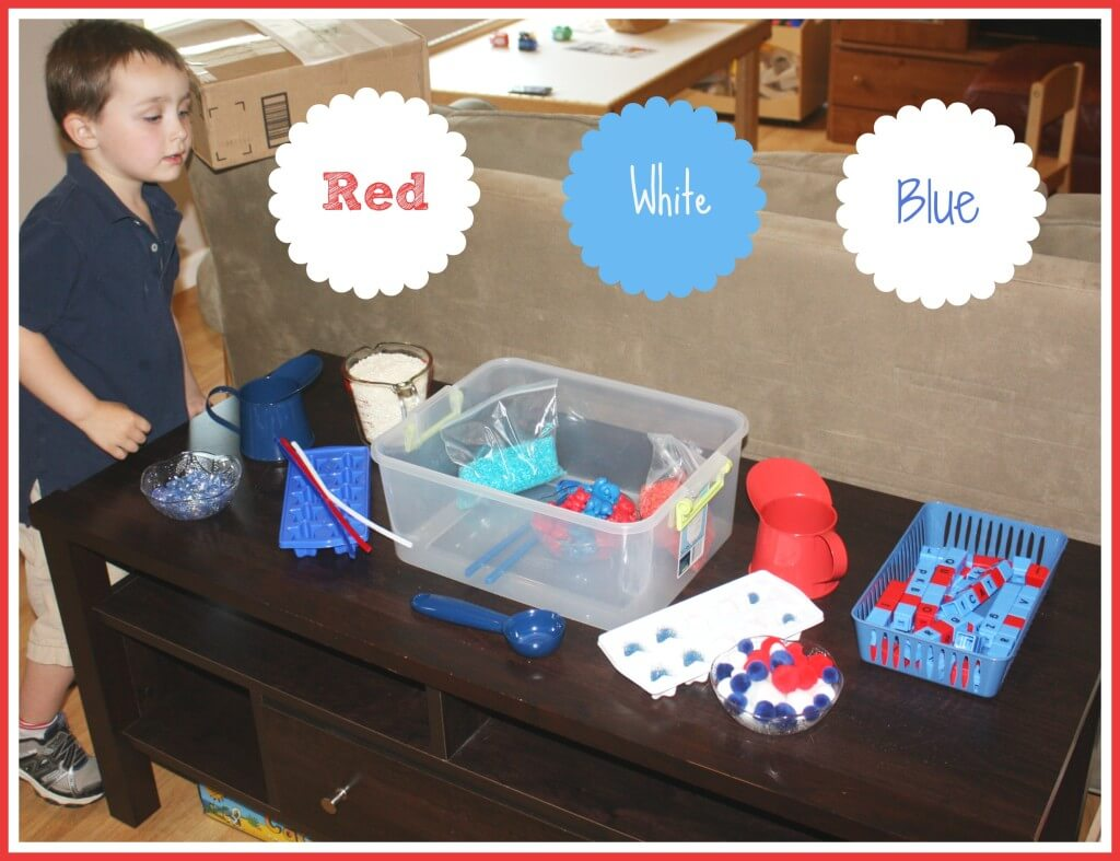 patriotic sensory play set up
