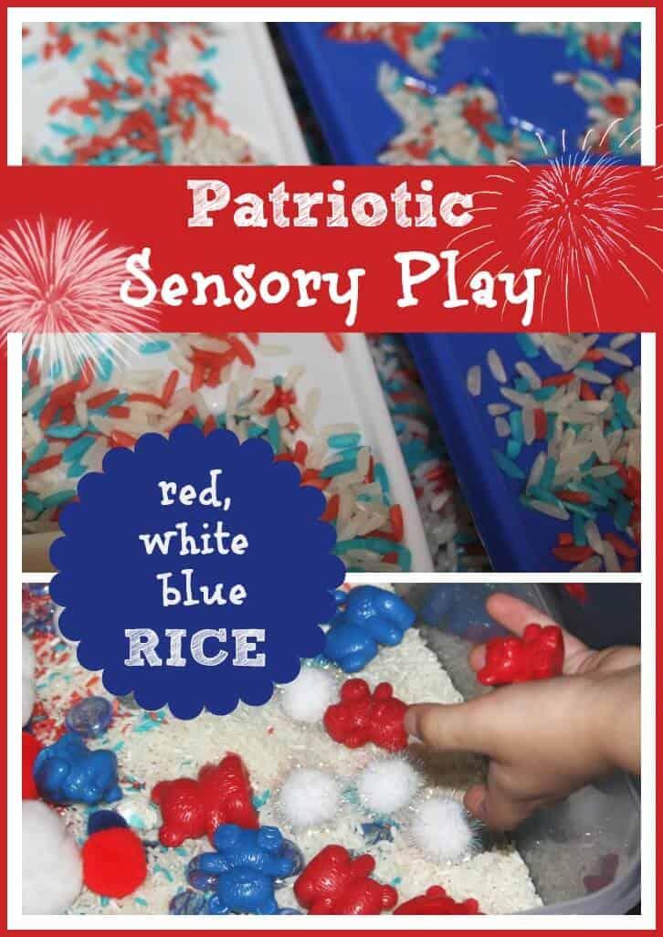 Red White & Blue Patriotic Sensory Bin Play & More