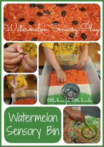 watermelon rice sensory bin