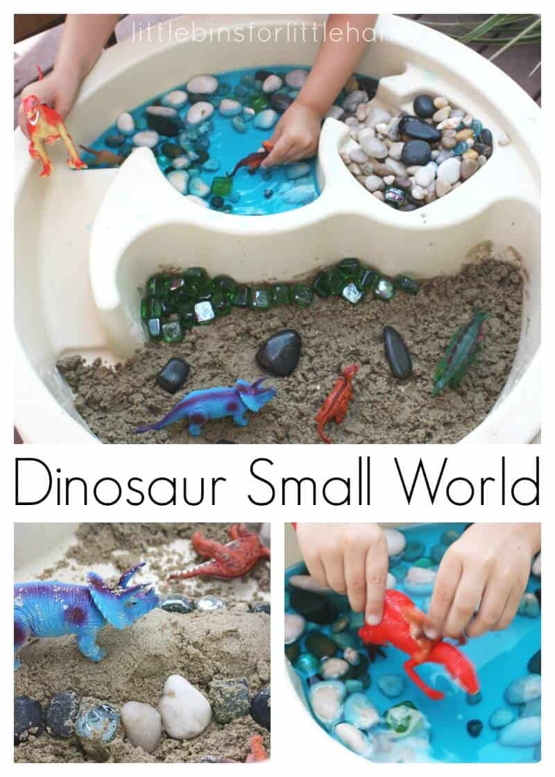 Dinosaur Sensory Bin With Moon Sand
