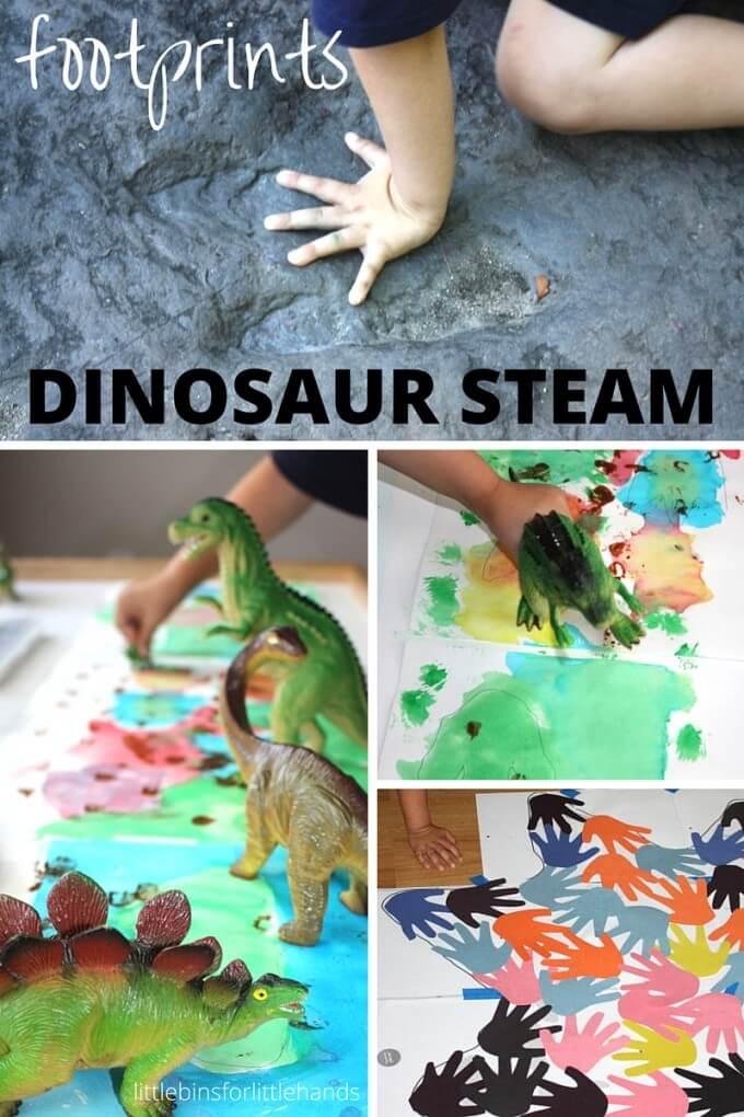 Dinosaur footprint activities for Dinosaur STEAM art math science activities