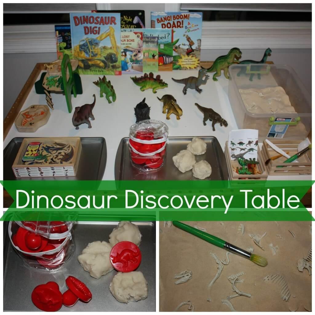 Preschool dinosaur discovery table little bins for for Dinosaur crafts for preschool