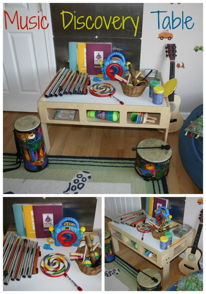 Preschool music and sound discovery sensory table for kids