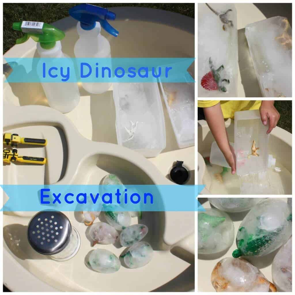 Icy Dinosaur Excavation Sensory Play