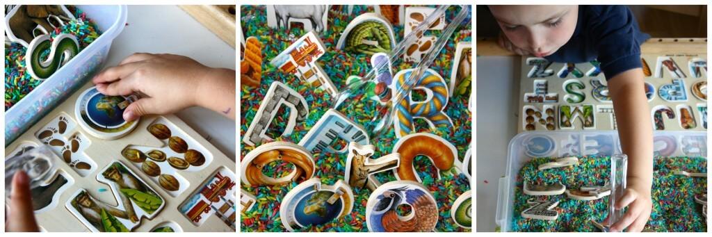 rainbow rice letter puzzle