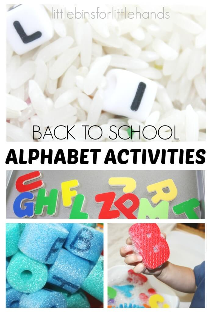 Alphabet Activities for Back To School Toddler and Preschool Letter Activities