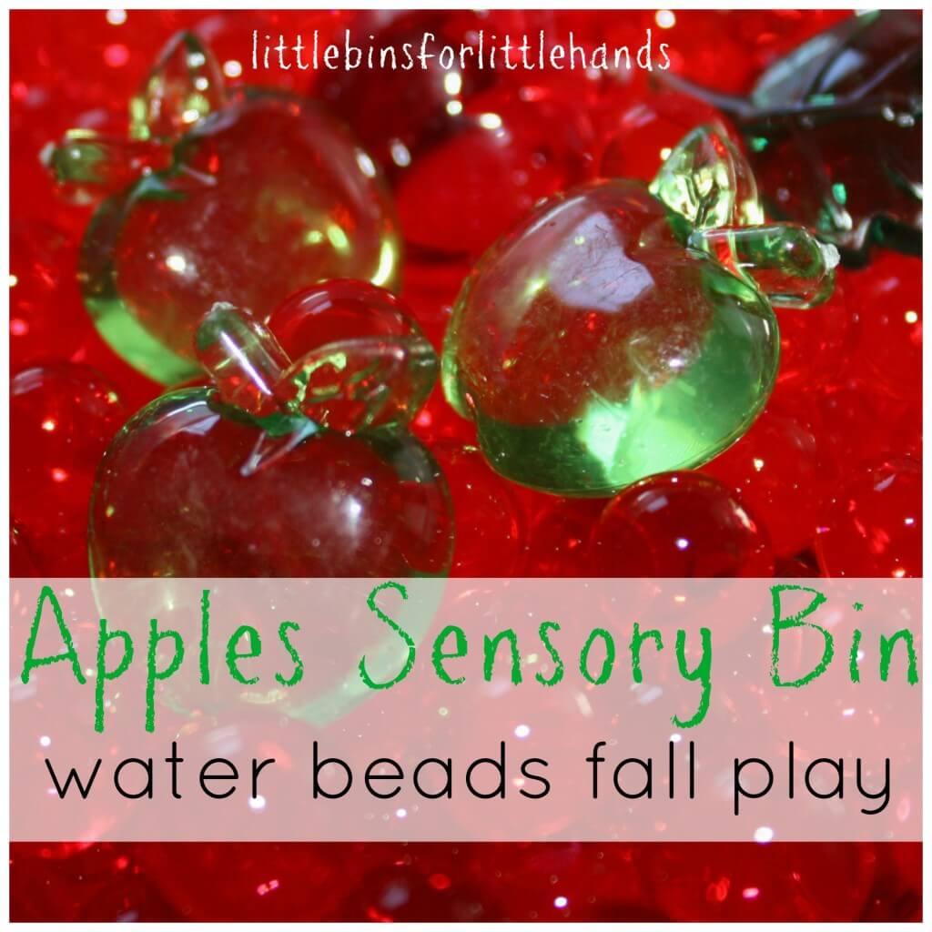 apples sensory bin water beads play