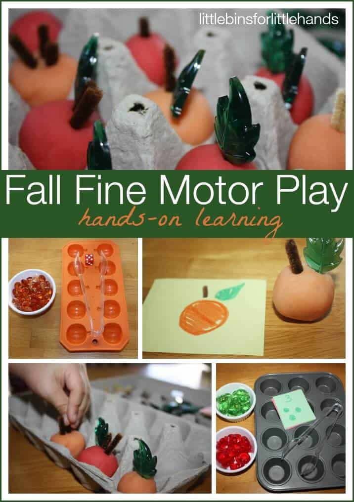 fall pumpkins and apples fine motor games and sensory play