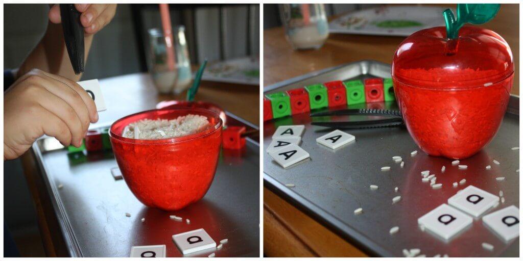 simple apple worm sensory letter sort