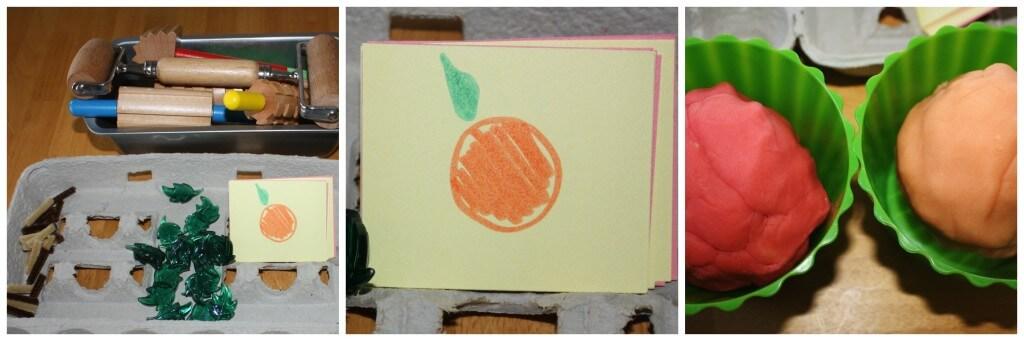 simple pumpkins play dough set up