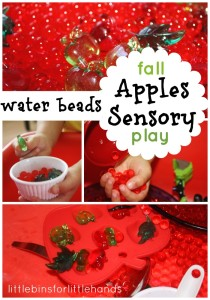 water beads apples sensory bin play