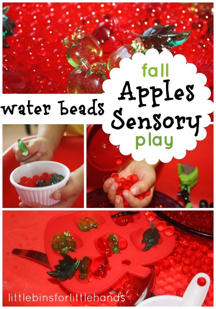 water beads apples sensory bin play