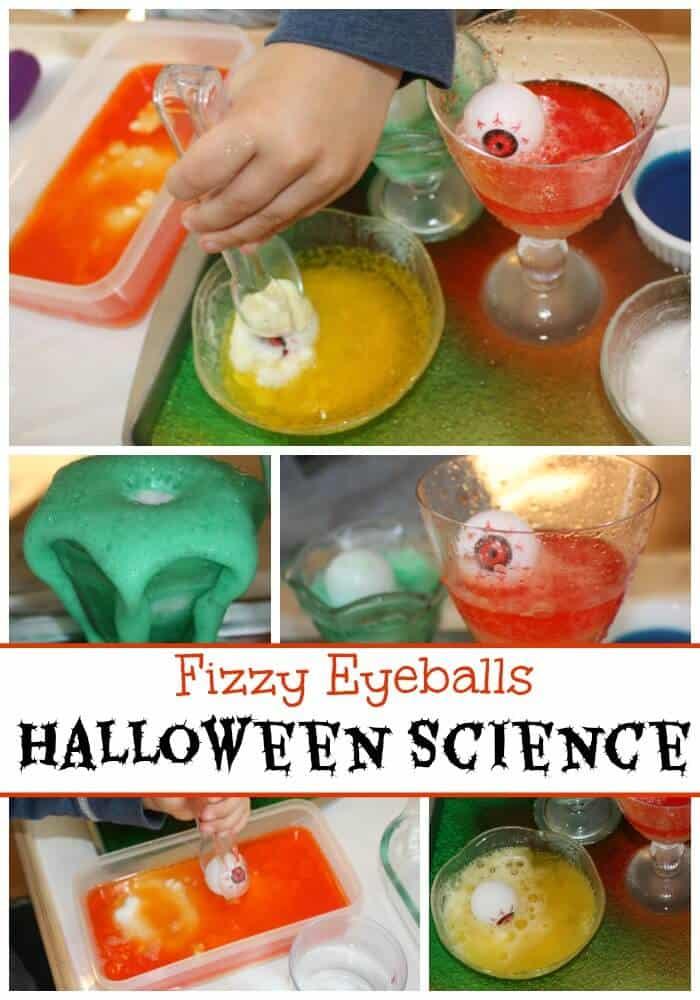 Halloween Baking Soda Science Fizzy Eyeballs