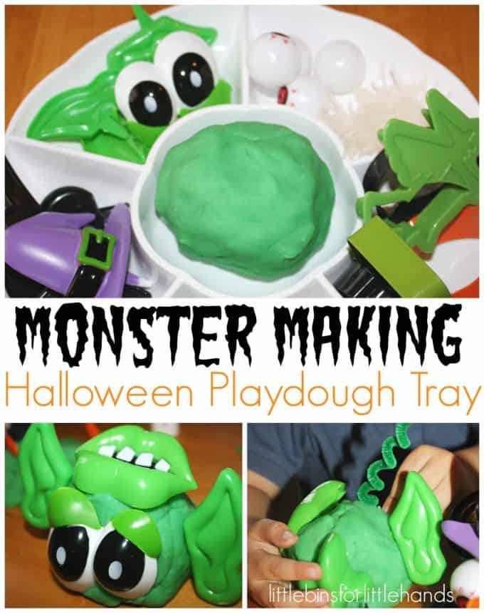 Monster Making Halloween Playdough Tray