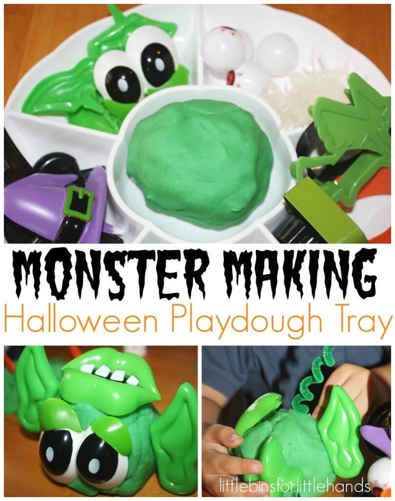 Monster Making Halloween Playdough Tray