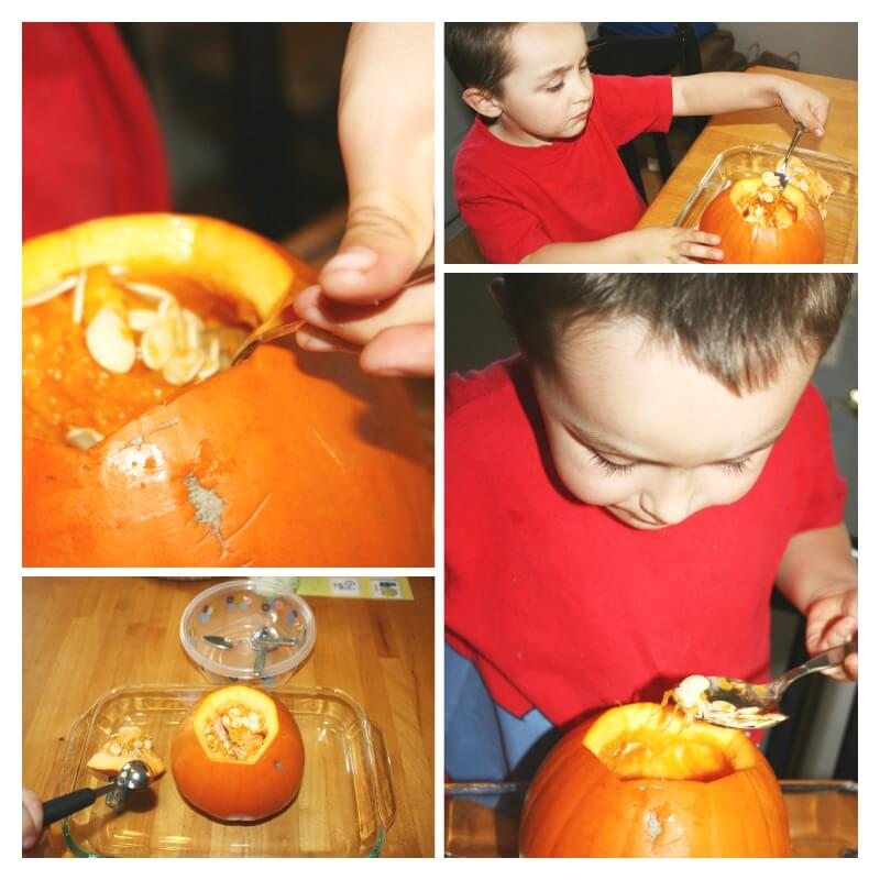 Pumpkin Volcano Science Activity Cleaning Out Pumpkin