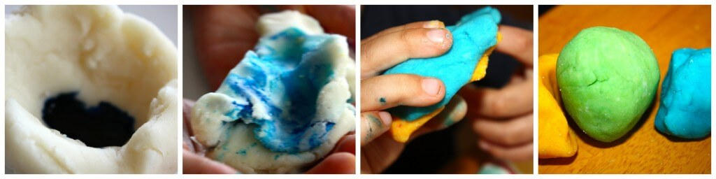 color round up mixing colored play dough