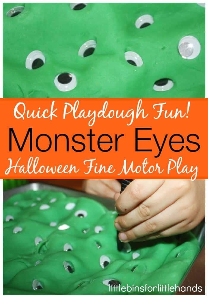 Monster eyes halloween fine motor skills activity for Playdough fine motor skills