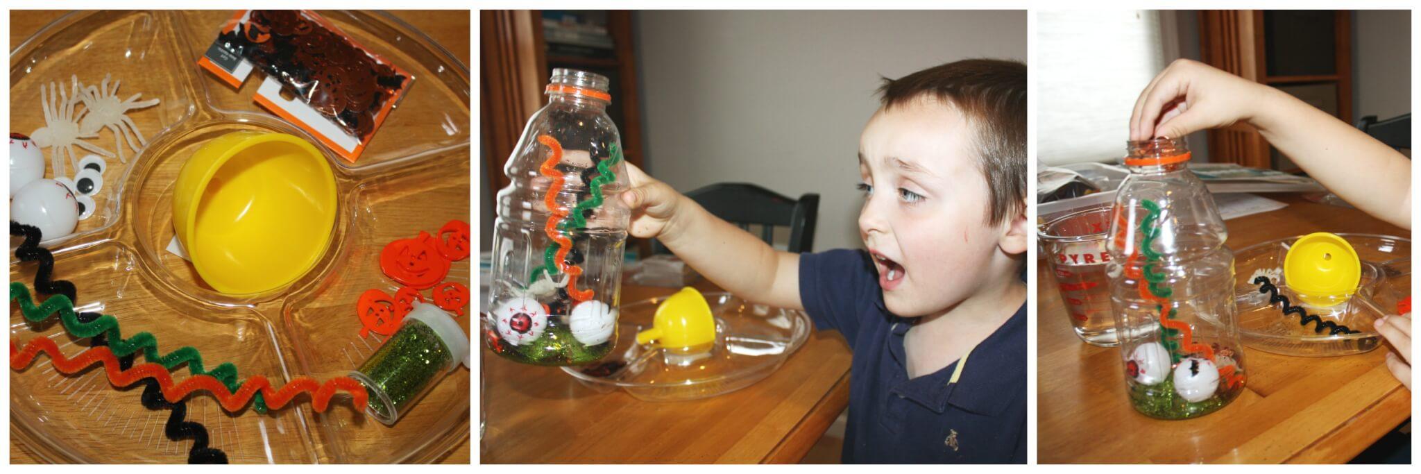 Halloween sensory bottles for Halloween sensory play for kids.