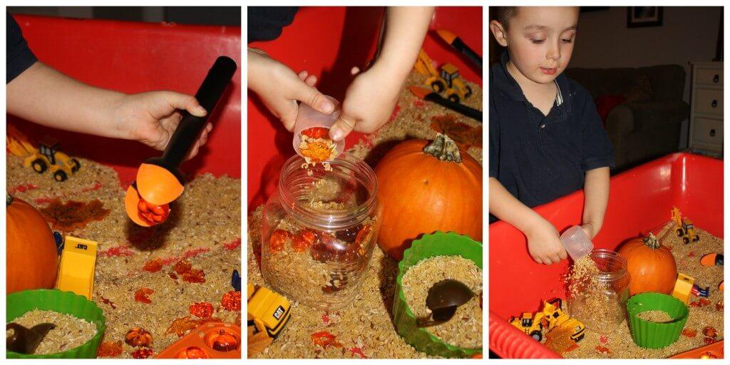 pumpkin harvest sensory bin filling and dumping