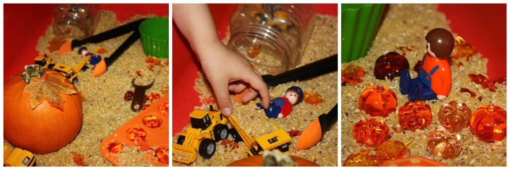 pumpkin harvest sensory bin with people and vehicles