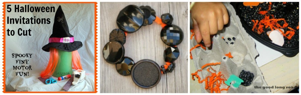 round up fine motor halloween cutting, bracelt, sensory
