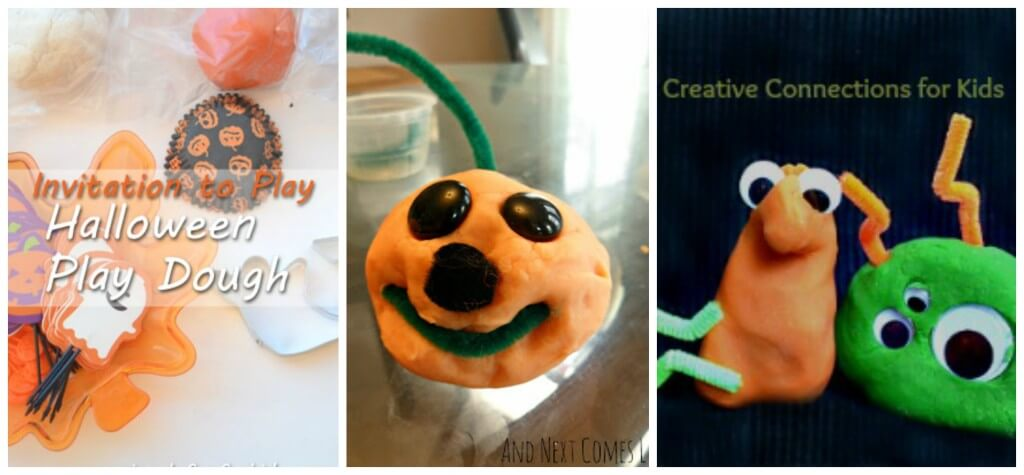 round up fine motor halloween play dough