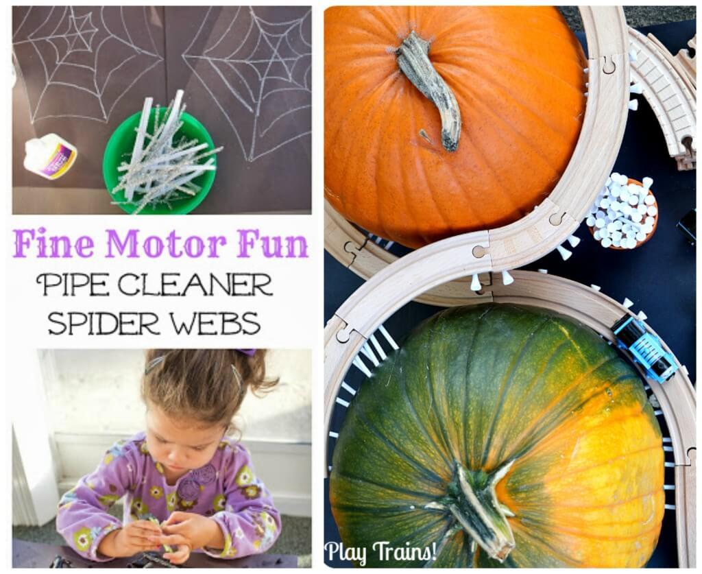 round up fine motor halloween pumpkin train and spider web