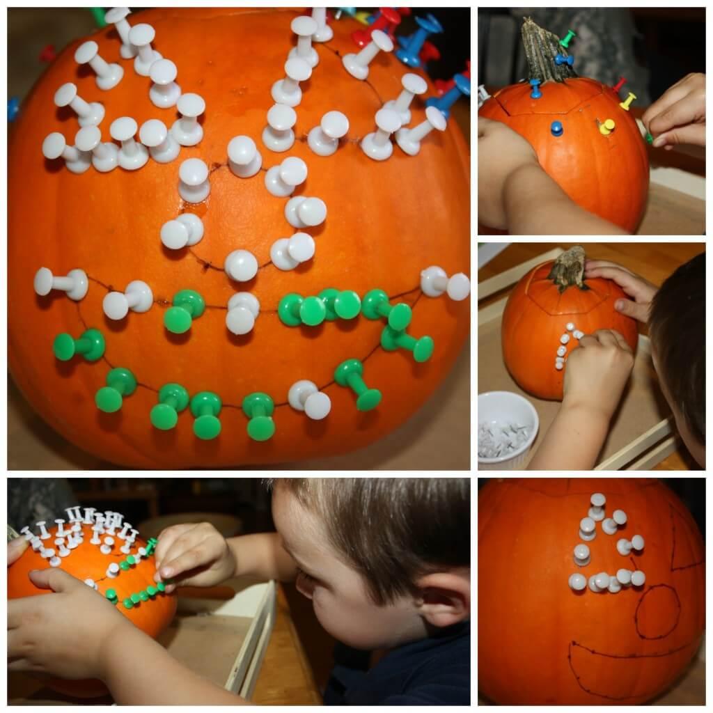 round up fine motor halloween thumb tack pumpkin