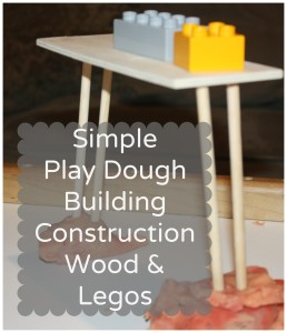 Play Dough construction with wood and legos