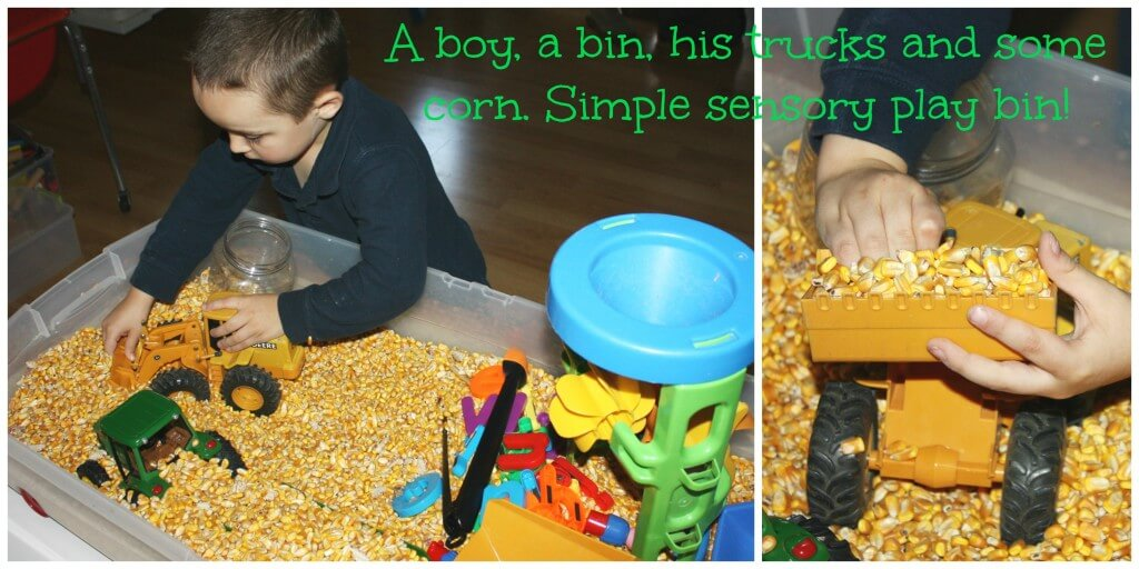 corn sensory bin play full view