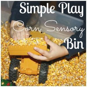 corn sensory bin play with tractor